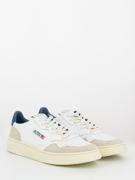 Sneakers 01 low pelle e suede bianco / blu