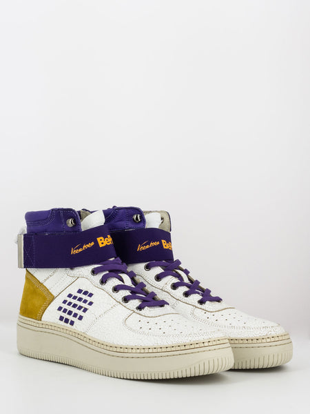 Sneakers track_01 b side bianco / viola / giallo