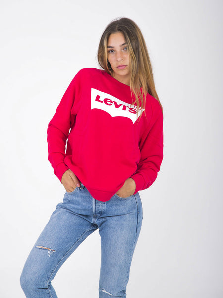 Felpa relaxed graphic crew rossa