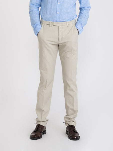 Pantaloni slim oxford panna