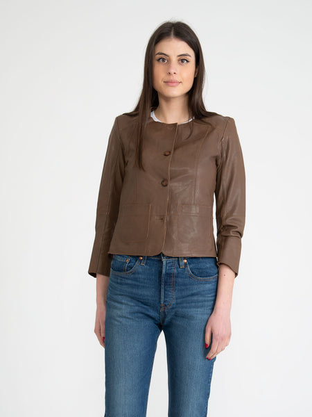 Giacca girocollo in nappa taupe scuro
