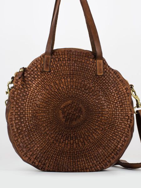 Shopper tonda intreccio optical cognac