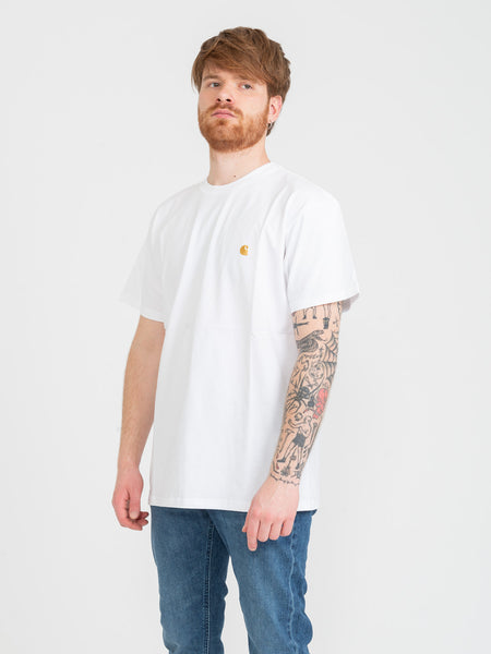 T-shirt mini logo white / gold