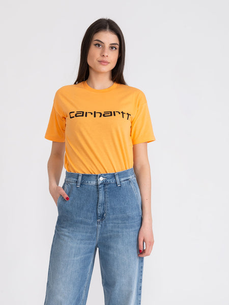 T-shirt Script pop orange / nero