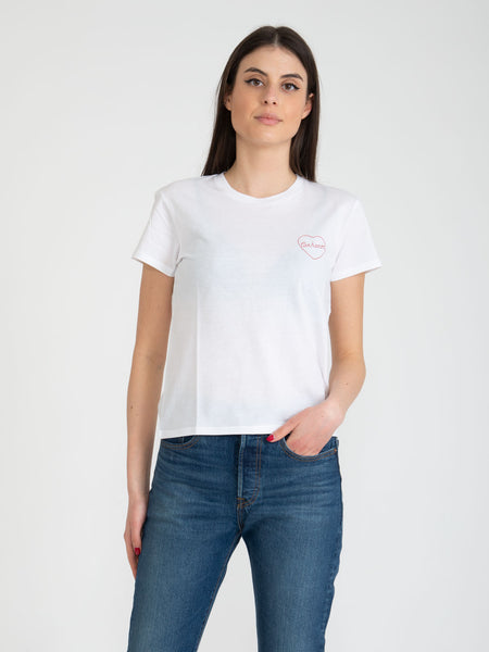 T-shirt Tilda Heart bianco / etna red