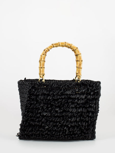 Borsa Diamante in rafia nera