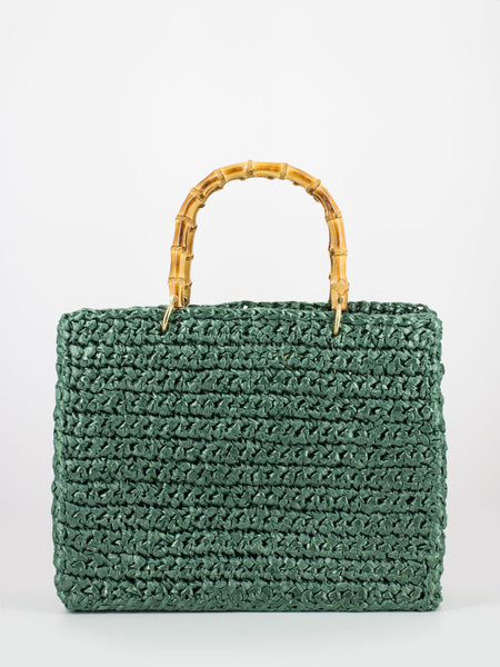 Shopper Luna in rafia verde pino