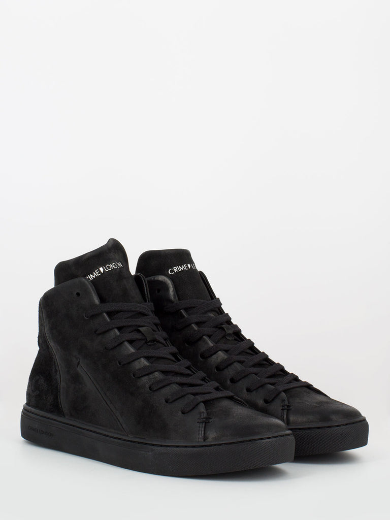 CRIME - High top minimal suede total black