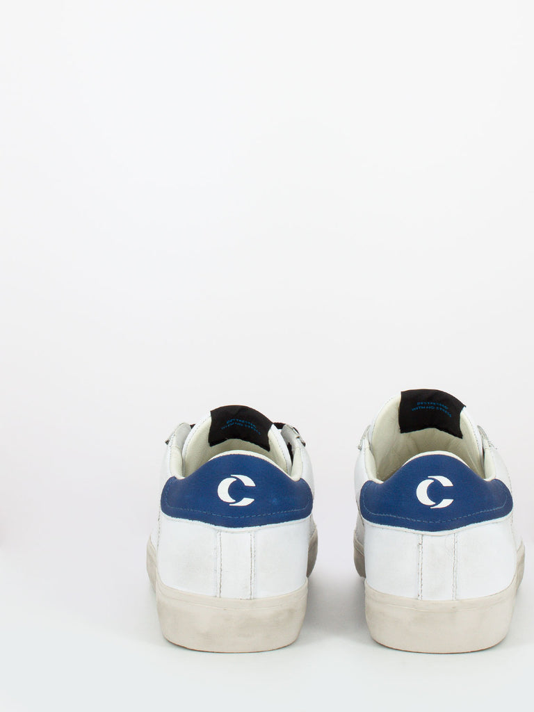 CRIME - Low top distressed bianco / blu