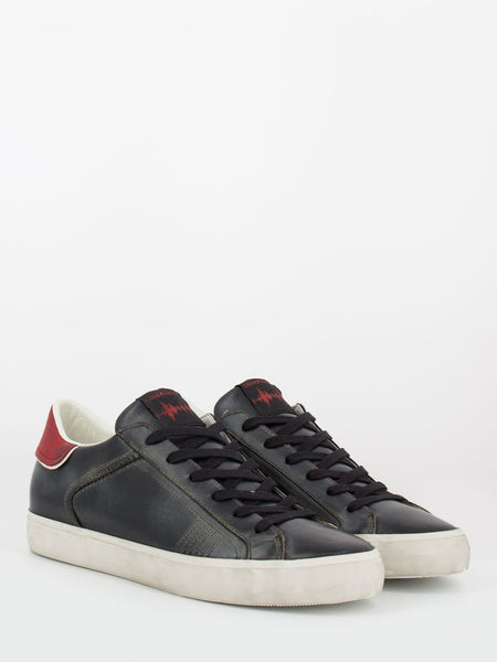Low top distressed nero / rosso