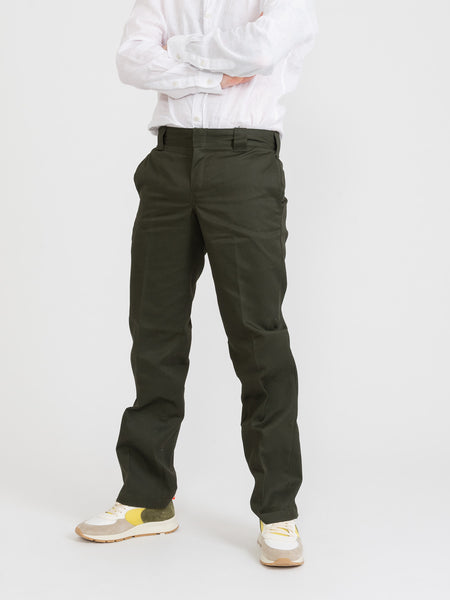 Slim fit straight leg work pants verdi