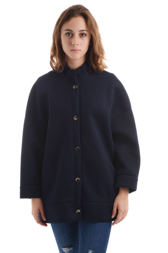DOU DOU – CAPPOTTO IN NEOPRENE BLU