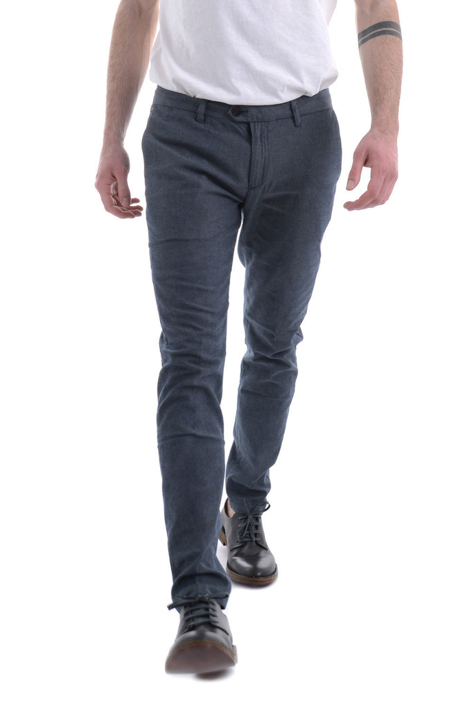 SCOTCH & SODA - Pantaloni oxford grigio/blu