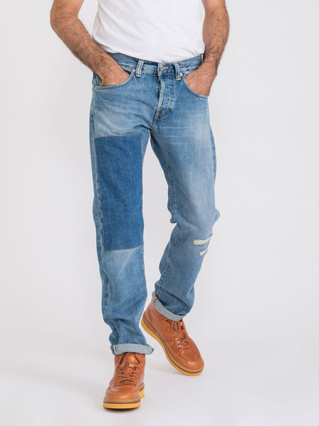 Ed 55 regular tapered denim medio con maxi toppa