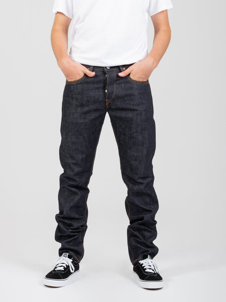 Jeans regular tapered raw state denim scuro