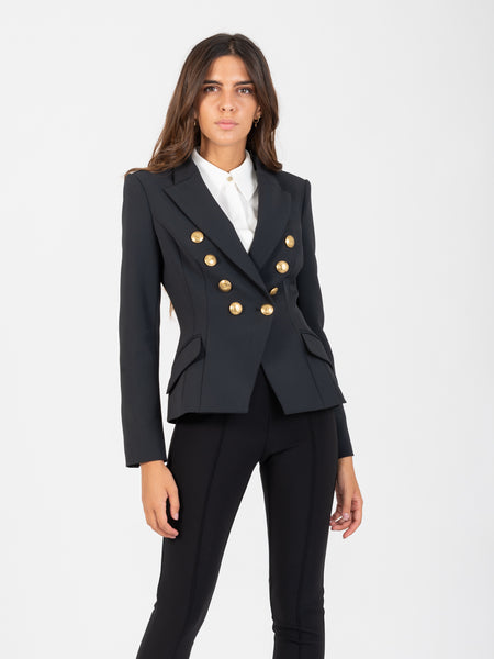 Blazer corto nero con bottoni oro light