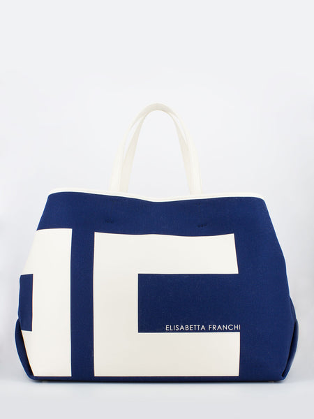 Maxi shopper in canvas blu capri / burro