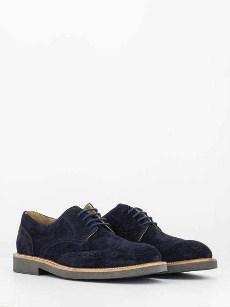 Derby in suede blu