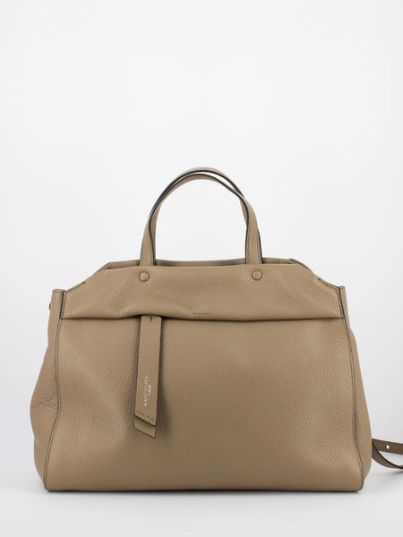Doc bag in pelle martellata beige