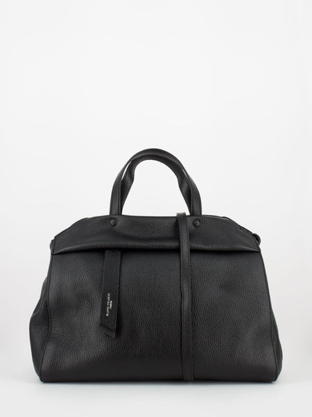 Doc bag in pelle martellata nera