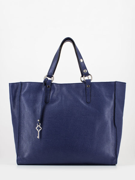 Maxi shopper in pelle martellata klein blue