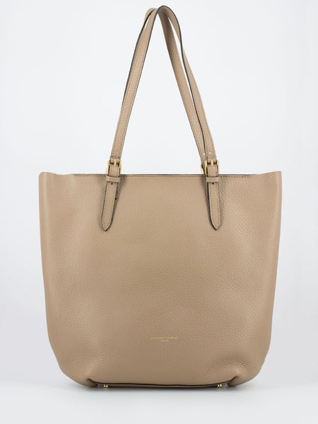 Shopper in pelle martellata beige