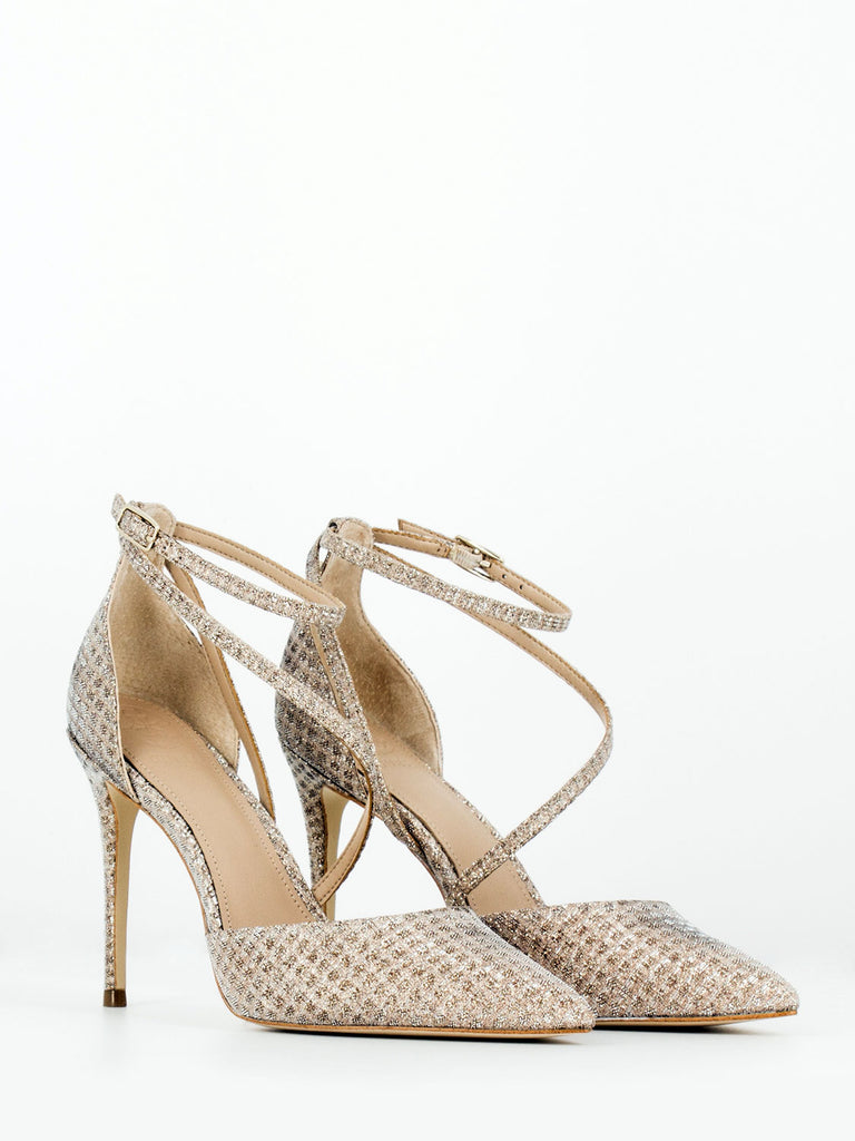 GUESS - D'orsay lurex oro / beige 100mm