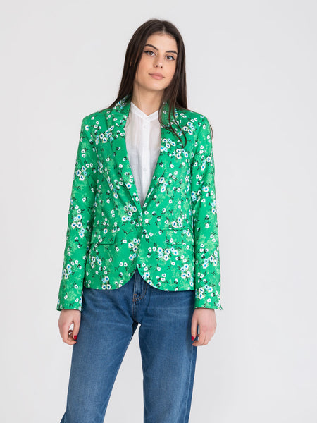 Blazer single-button verde con fiori