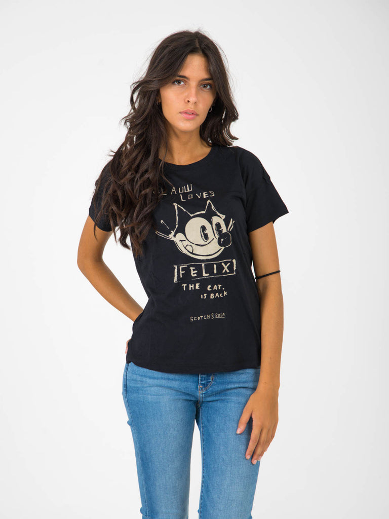 MAISON SCOTCH - T-shirt felix the cat nera