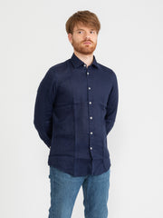 IMPURE - Camicia french collar slim mix navy in lino