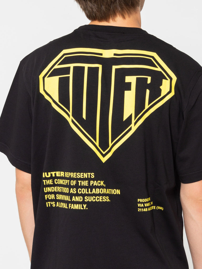 new style 091fd af263 T-shirt double logo nero / giallo