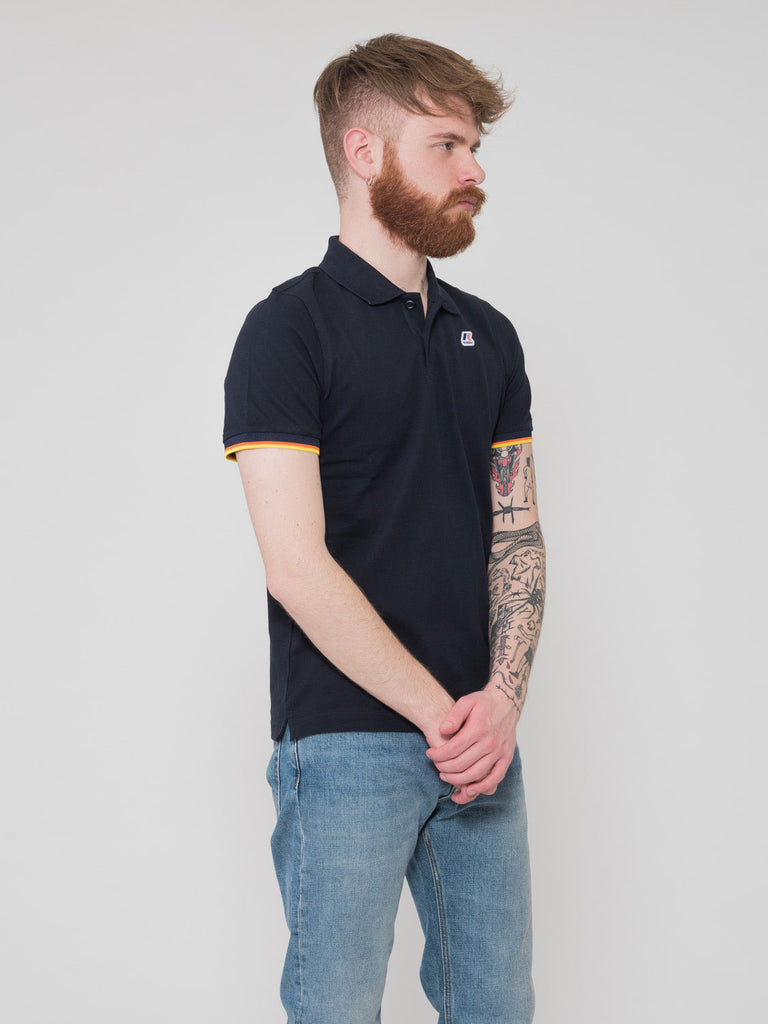 K-WAY - Polo Vincent contrast blu scuro