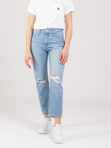 Jeans Carol cropped straight denim medio chiaro