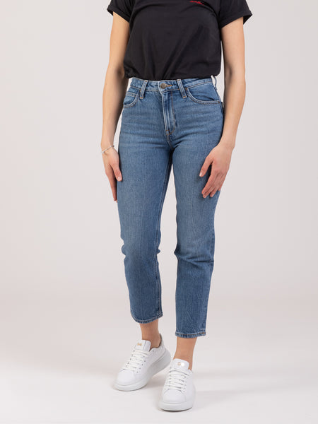 Jeans Carol cropped straight denim medio scuro