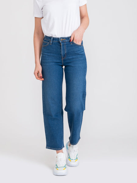 Wide leg denim medio scuro