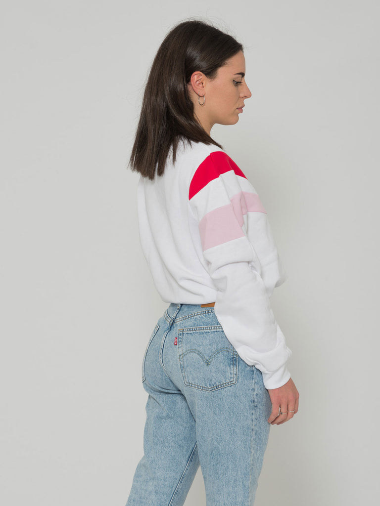 LEVI'S - Felpa crop bianco / rosa / rosso con coulisse