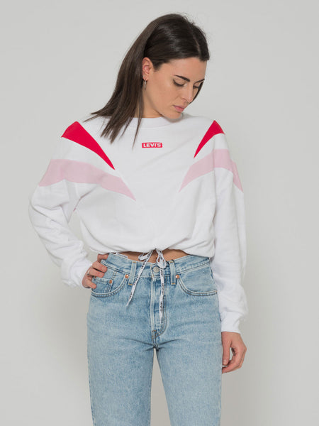 Felpa crop bianco / rosa / rosso con coulisse