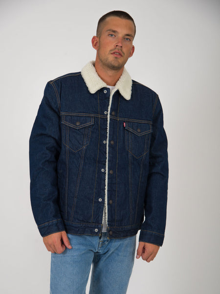 Giacca jeans type 3 sherpa trucker denim scuro
