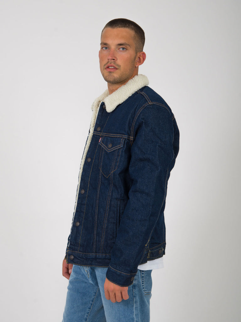 LEVI'S - Giacca jeans type 3 sherpa trucker denim scuro