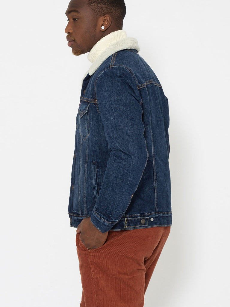 LEVI'S - Giacca Sherpa Trucker denim medio scuro