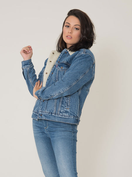 Giubbotto jeans / sweet fur denim medio