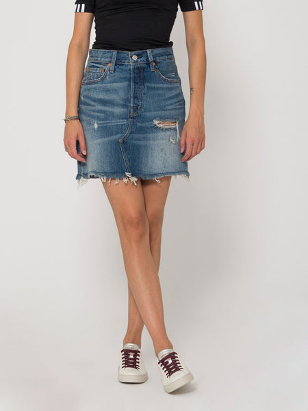 Gonna high plains denim medio con strappi