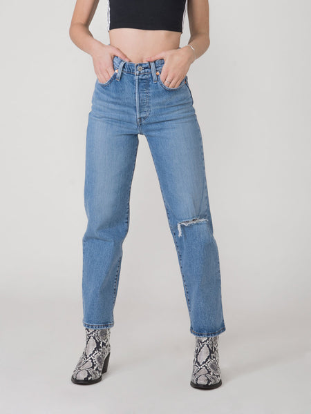Jeans ribcage straight ankle chiaro