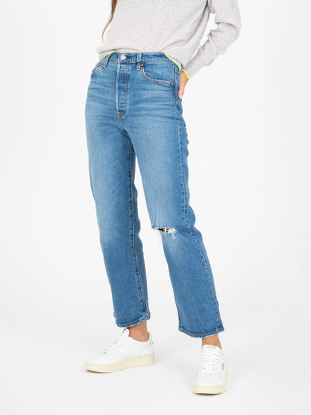 Jeans ribcage straight ankle denim medio