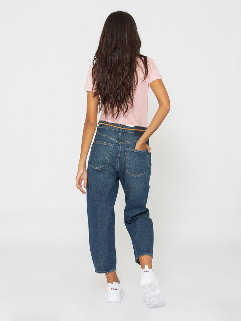 LEVI'S MADE AND CRAFTED - Barrel crop denim medio scuro