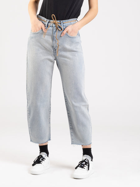 Barrel crop denim chiaro