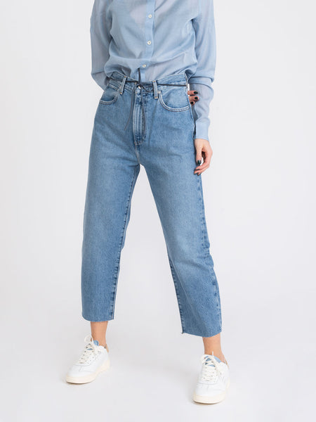 Barrel crop denim medio