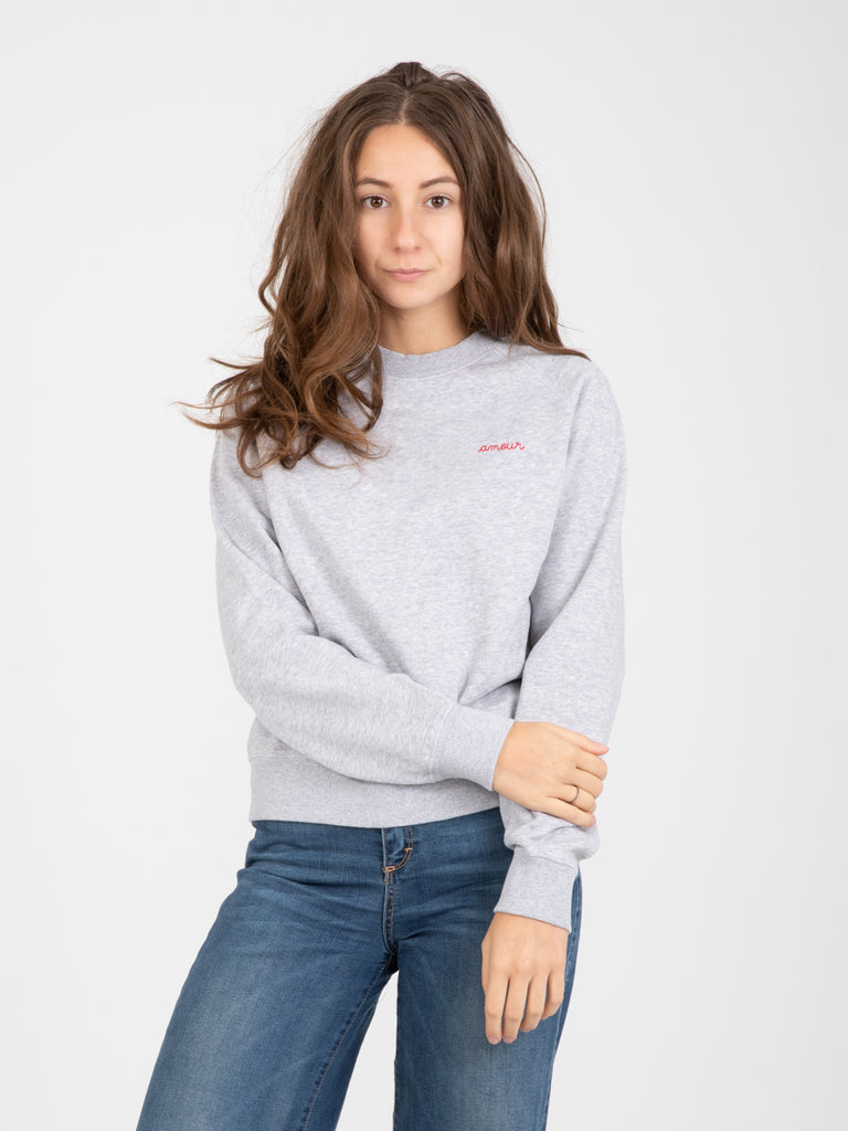MAISON LABICHE - Felpa Amour light heather grey
