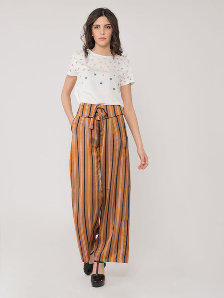 Pantaloni satin a righe brown / multicolor