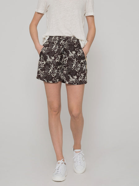 Shorts marrone / tortora con stampa tropical